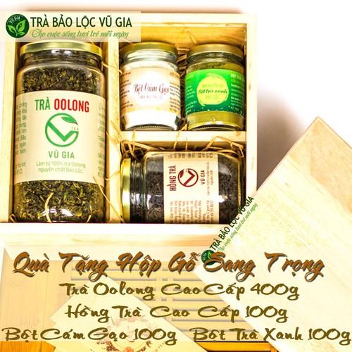 [Hộp quà tặng] trà oolong cao cấp 400g + hồng trà cao cấp + bột cám gạo + bột trà xanh [100g-hũ] nguyên chất bảo lộc vũ gia - đã được kiểm nghiệm y tế - 21311333 , 24545037 , 15_24545037 , 765000 , Hop-qua-tang-tra-oolong-cao-cap-400g-hong-tra-cao-cap-bot-cam-gao-bot-tra-xanh-100g-hu-nguyen-chat-bao-loc-vu-gia-da-duoc-kiem-nghiem-y-te-15_24545037 , sendo.vn , [Hộp quà tặng] trà oolong cao cấp 400g +