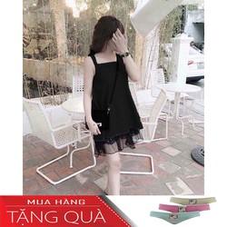 Đầm Suông Hai Dây Phối Ren - Tặng 1 quần lót nữ màu ngẫu nhiên