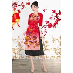 Áo dài cách tân nữ búp hoa, chim công ,hoa cỏ mùa xuân vải tơ lụa M, L ,XL, 2XL thiết kế