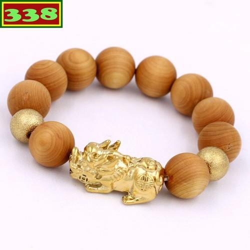 Vòng tay chuỗi hạt gỗ ngọc am 15 ly - chuỗi hạt đeo tay tỳ hưu inox vàng vgnathhbv15 - vòng tay phong thủy hợp mệnh kim, mệnh thủy