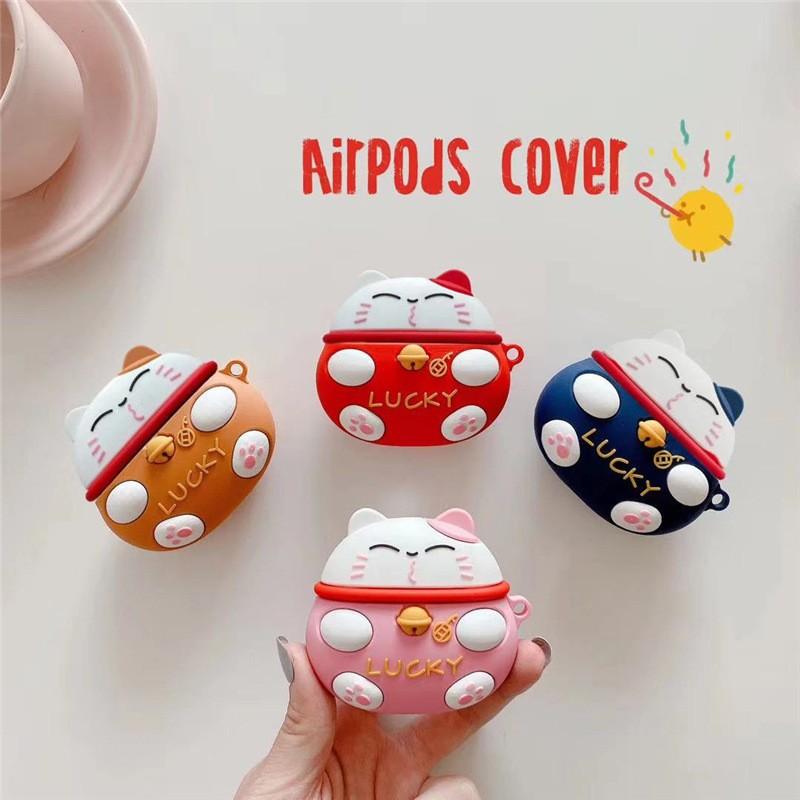 Ốp Airpods Pro Mèo Thần Tài Lucky - PK526