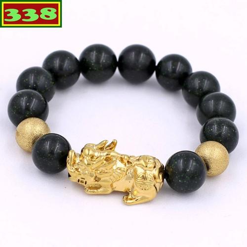 Vòng chuỗi tay đá lục sa 14 ly - vòng tay tỳ hưu inox vàng vlusthhbv14 - vòng chuỗi đeo tay mệnh mộc, mệnh thủy