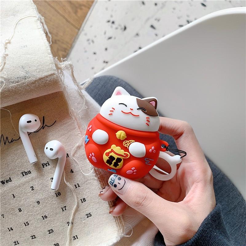 Ốp Airpod 1/2 Mèo thần tài móc tròn - PK485