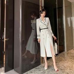 Đầm vest Gài Trắng kèm đai cao cấp Quảng Châu 2020