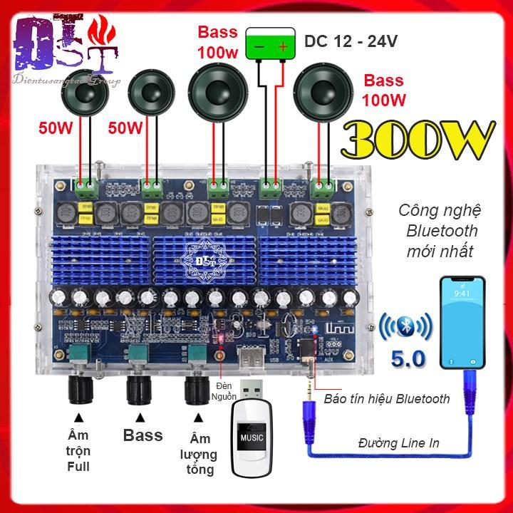 Mạch khuếch đại âm thanh Bluetooth 5.0 ClassD 4 kênh 300W