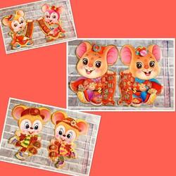 Hình dán chuột trang trí Tết 2020 size 50 cm set 2 tấm