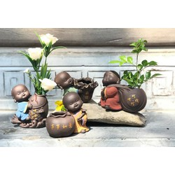 Bộ tượng phong thủy chú tiểu trồng cây Tài Lộc May Mắn