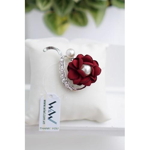 Cài áo đàn hạt đính đá, hoa hồng handmade đính ngọc trai