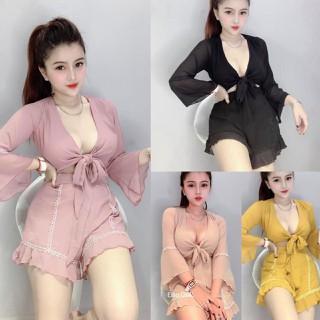 Sét bộ cột nơ tay loe dạo phố cực xinh, SET VIỀN REN THẮT NƠ bán cả áo+ quần - V357 thumbnail