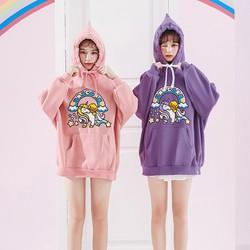 Áo khoác hoodie form rộng oversize hoạt hình vịt cưỡi ngựa thần dễ thương mới 2019
