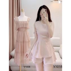Đầm hồng dạo phố V1008