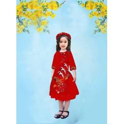 Set áo dài cho bé gái 12-35kg size S, M, L thiết kế cao cấp