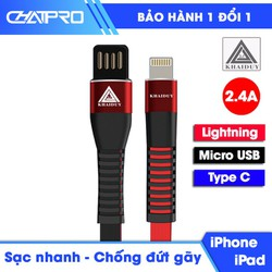 Dây sạc nhanh 2.4A dài 1 mét Khai Duy CD002 - Sản phẩm có đủ 3 loại đầu sạc bao gồm Lightning cho iPhone iPad, Micro USB và Type C