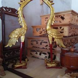 đôi hạc thờ bằng gỗ mít