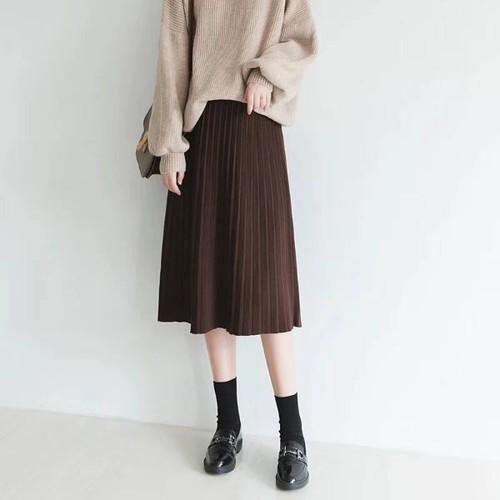 Chân váy len xếp li xoè dáng dài tặng kèm đai