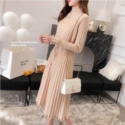 Đầm len form dài xếp li phong cách Hàn Quốc
