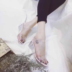 Giày sandal cao gót quai trong gót pha lê