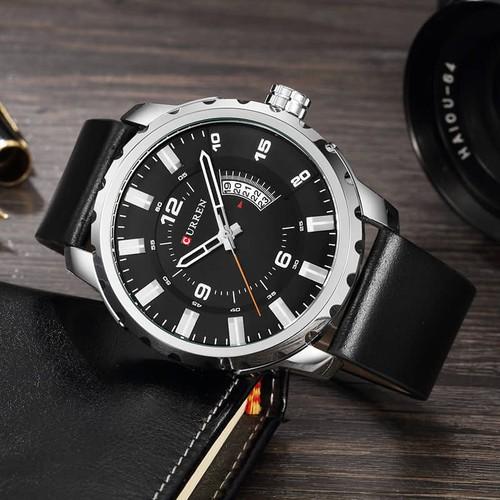 Đồng hồ doanh nhân nam chống nước Curen 8245 - Dây đen mặt trắng