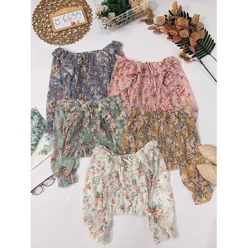 Áo hoa bẹt vai nhún thun