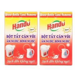 Bộ 2 hộp 4 gói bột tẩy cặn vôi ấm nước bình nước Hando