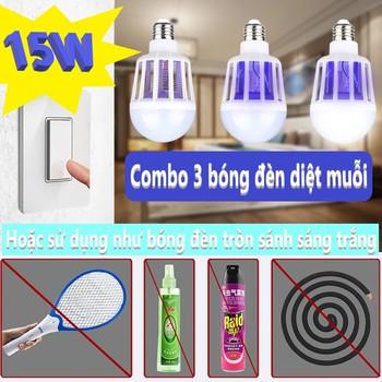 Combo 3 bóng đèn diệt muỗi 15W - 2 chê độ diệt muỗi và ánh sáng trắng [không hóa chất an toàn - diệt muỗi bằng lưới điện và ánh sáng màu thu hút muỗi tự bay vào]