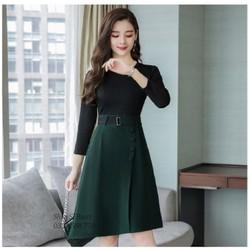 Chân váy xếp ly phối nút sang trọng - nhiều size và màu, form dáng chuẩn thích hợp mặc đi làm, dự tiệc hoặc cafe cùng bạn bè