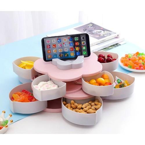 Khay đựng mứt tết, bánh kẹo hoa quả, khay đựng mứt kẹo hình cánh hoa, hộp đụng hoa quả, bánh kẹo mứt tết 2 tầng 10 cánh xoay 360 độ sang trọng tiện dụng gọn gàng, hộp đựng bánh kẹo có kèm khe giá đỡ đ - 21083022 , 24218833 , 15_24218833 , 249000 , Khay-dung-mut-tet-banh-keo-hoa-qua-khay-dung-mut-keo-hinh-canh-hoa-hop-dung-hoa-qua-banh-keo-mut-tet-2-tang-10-canh-xoay-360-do-sang-trong-tien-dung-gon-gang-hop-dung-banh-keo-co-kem-khe-gia-do-dien-thoai-