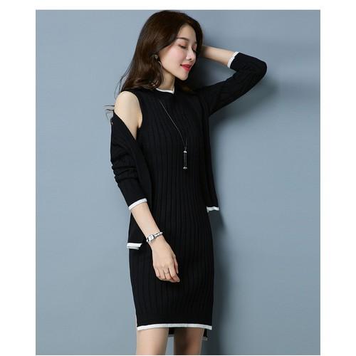 Áo khoác len cardigan kèm váy nữ, hàng nhập, chất đẹp