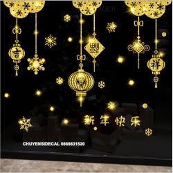 Decal trang trí tường Tết - Rèm Chữ Nhũ Kim Tuyến