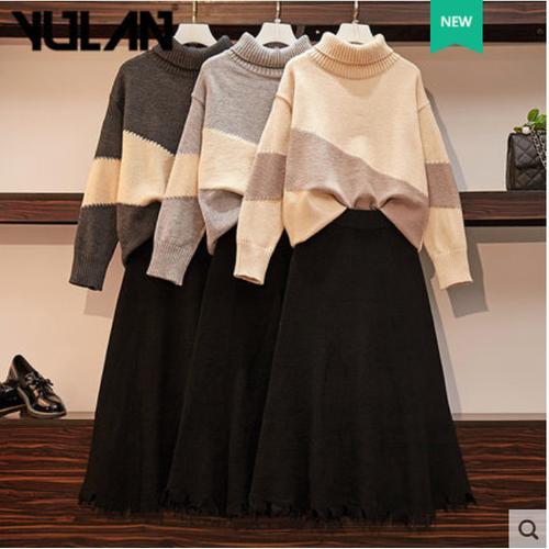 Set áo len cổ trụ và chân váy thương hiệu yulan
