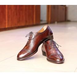 Giày tây nam da bò ý nhập cao cấp đế da nhập đánh patina