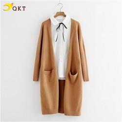 Áo khoác len cardigan QKT dài có 2 túi trước ak32