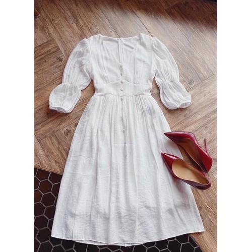 Đầm trắng midi cổ v bo eo cột nơ lưng