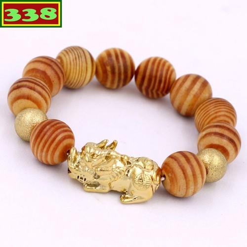 Vòng chuỗi gỗ huyết rồng 15 ly - chuỗi tỳ hưu inox vàng vghrthhbv15 - vòng tay phong thủy may mắn, tài lộc