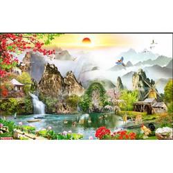 tranh dán tường 3d - tranh phong cảnh 2m x 1m55