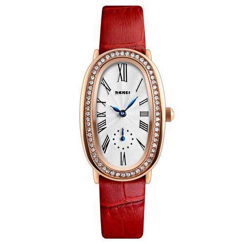 Mã wtchdec giảm 20k đồng hồ nữ skmei 1292d dây da cao cấp mặt hình oval đính đá