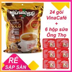 Combo Vinacafe 24 gói x 20g + sữa Ông thọ 6 hộp x 40g - CHO XEM HÀNG