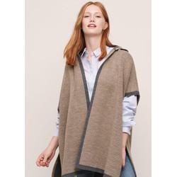 Áo cape len viền màu