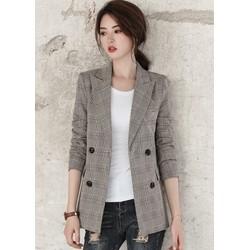 Áo vest, Blazer nữ kẻ caro, thiết kế 2 lớp dày dặn đứng áo, thời trang trẻ, phong cách Hàn Quốc