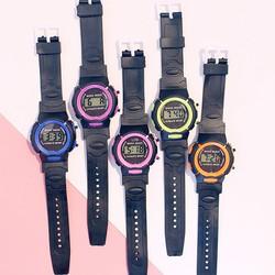 Đồng hồ điện tử unisex mặt tròn dây cao su thiết kế đơn giản candycat 17
