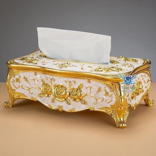 🚚 hộp đựng khăn giấy- vàng đính đá hoa văn cực sang trọng cao cấp