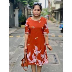 Đầm big size trung niên họa tiết chim hạc