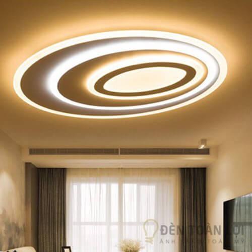 Đèn ốp trần mẫu đèn led chiếu sáng hình bầu dục 3 đường ánh sáng