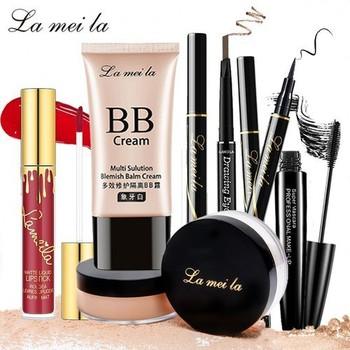 Bộ trang điểm chuyên nghiệp 6 món La Mei La Kem BB che khuyết điểm + Phấn phủ bột + Chì kẻ mày lâu trôi + Bút dạ kẻ mắt + Mascara 4d + Son kem lì