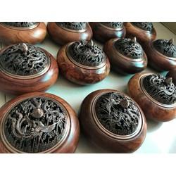 Lư gỗ hương xông trầm nắp kim loại