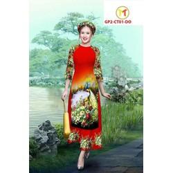 Set áo dài cách tân nữ M, L, XL, 2XL 1 áo  + 1 quần sắc xuân chim công  thiết kế cao cấp