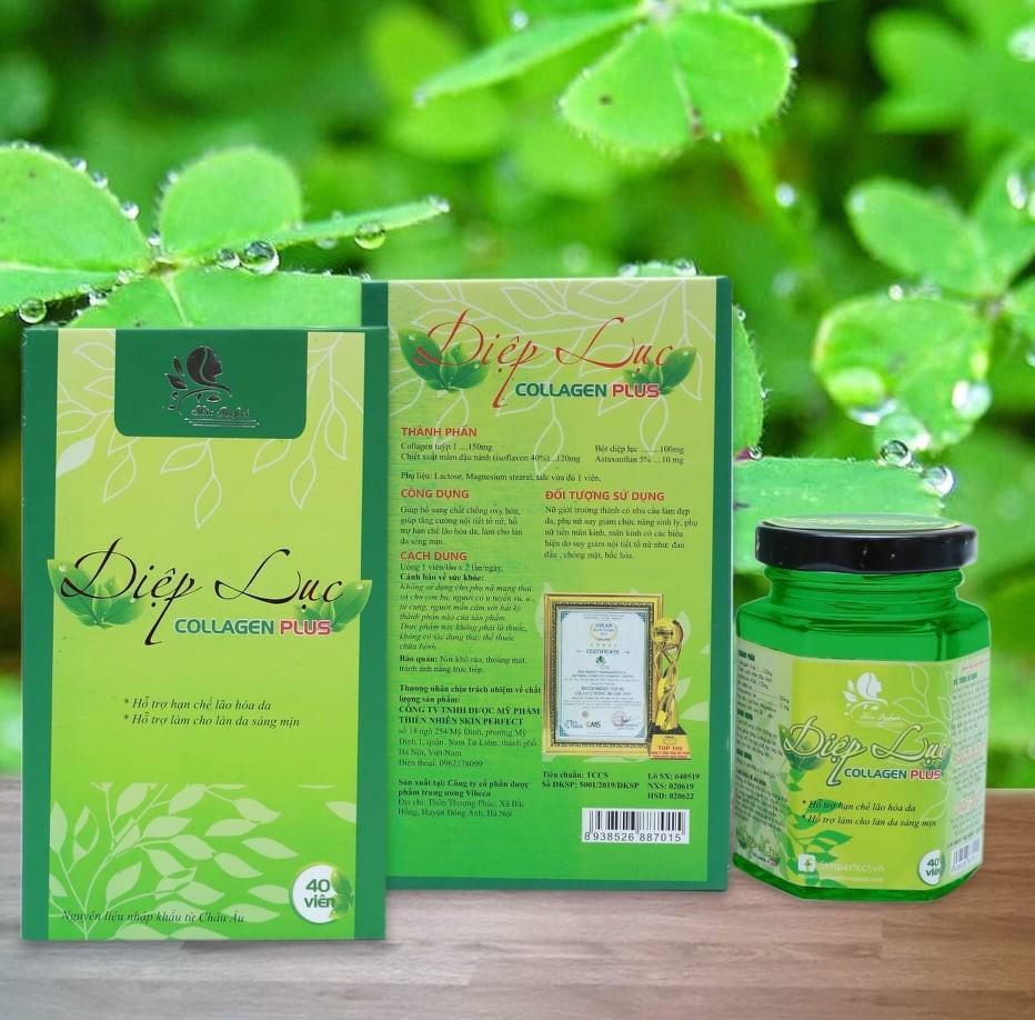 Viên Uống Diệp Lục Collagen Plus - Mẫu Mới Hộp 40 Viên Chuẩn Công Ty
