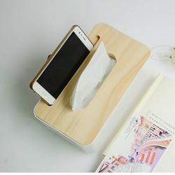 Hộp giấy ăn nhựa nắp gỗ cao cấp