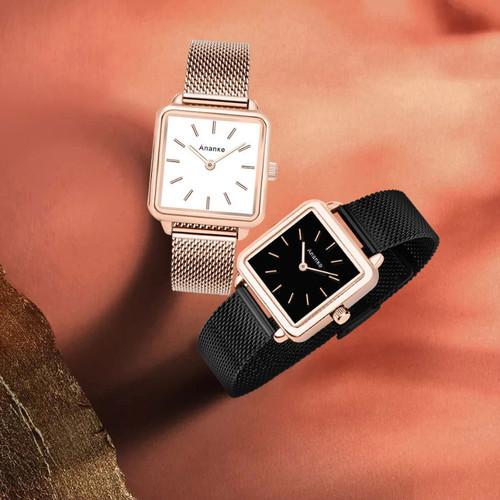 Đồng hồ thời trang nữ ananke mặt vuông cá tính