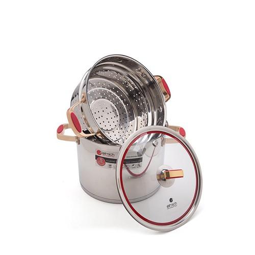Bộ nồi xửng hấp nắp kính inox 304 elmich red velvet size 28cm el0979 dùng bếp từ -hàng nhập khẩu cao cấp
